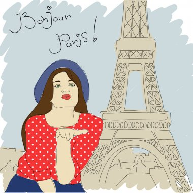 Pretty girl on a paris-background. Vector illustration