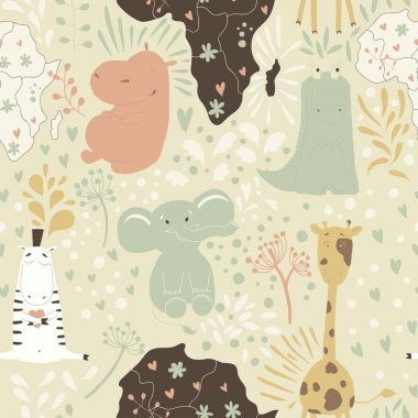 Cute cartoon seamless pattern with wild animals from Africa