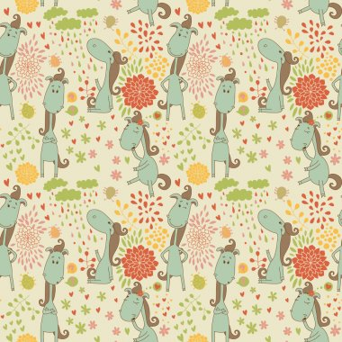Bright pattern with cute horse in its various manifestations