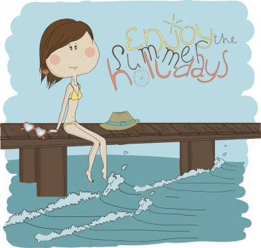 Illustration pretty girl on the beach. Illustration of a girl sitting on a pier clip art vector