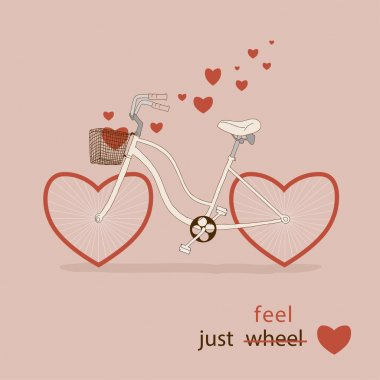 Bike with hearts instead of wheels. Great card for Valentine's Day