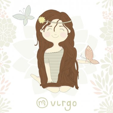 Zodiac sign Virgo. Cute little girl sitting on the garden