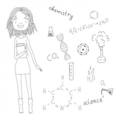 Beautiful girl with books in hand on the background of chemical formulas. Freehand drawing school items. Eps10
