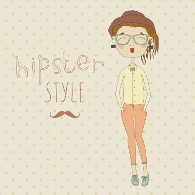 Cute hipster girl painted on the vintage background. Vector illustration. Eps 10 clip art vector