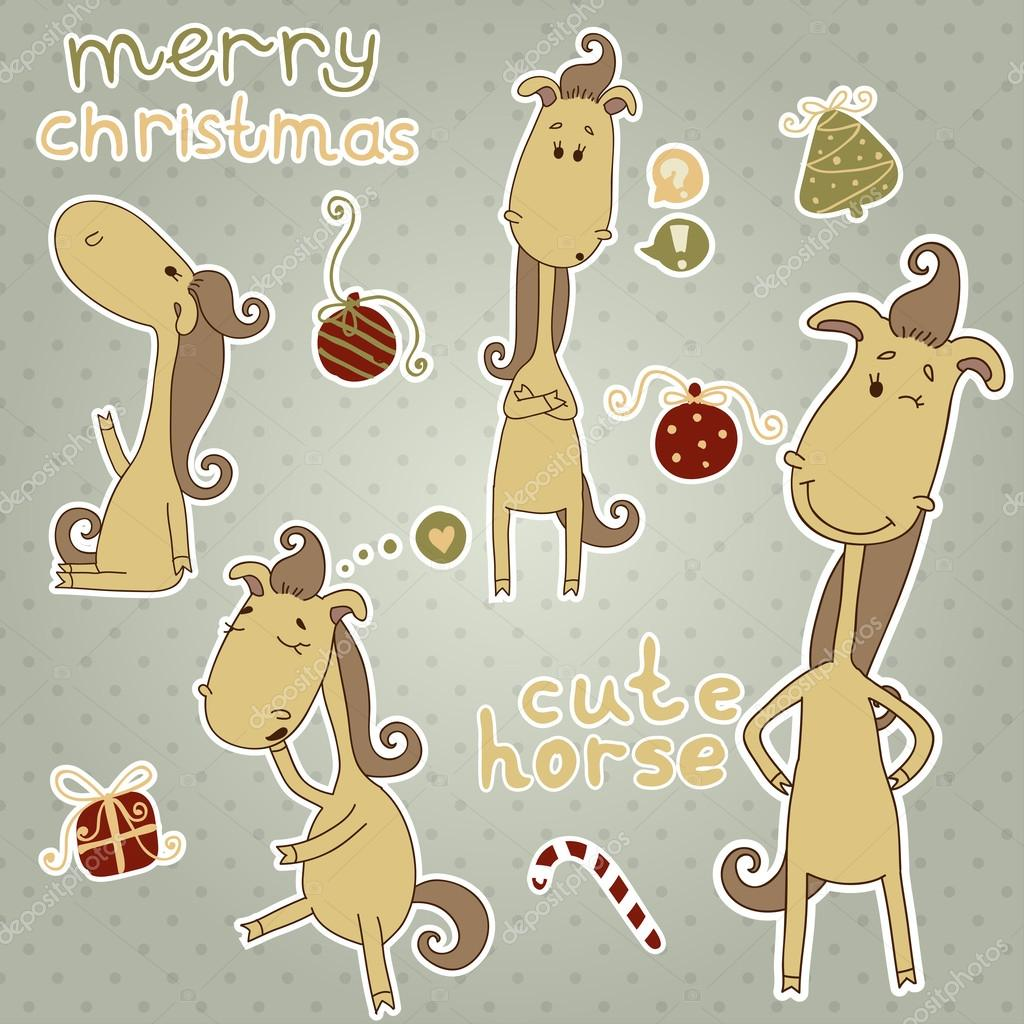 Christmas Horse Cartoon.Year Of The Horse Stickers With Cute Christmas Horse