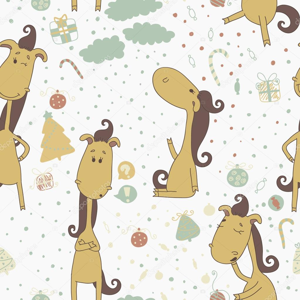 Christmas Horse Cartoon Cartoon Horse On The Christmas Background Christmas Seamless Pattern Ideal For Greeting Cards Invitations And For Wallpaper Pattern Fills Web Page Backgrounds Surface Textures Eps 10 Stock