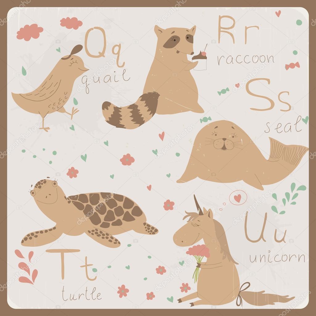 Alfabeto carino zoo in vettoriale. q r s t lettere di u. animali