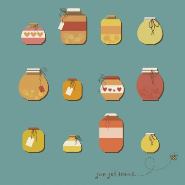 Cute seamless pattern with various fruit jam pot. Eps 10