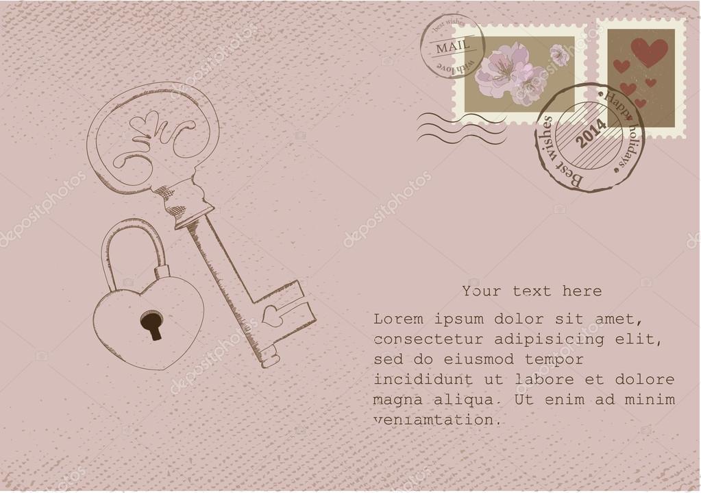 spesso vecchie cartoline e francobolli di nozze — Vettoriali Stock  JC74