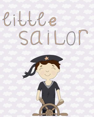Card with little sailor at the wheel on the background with clouds clip art vector
