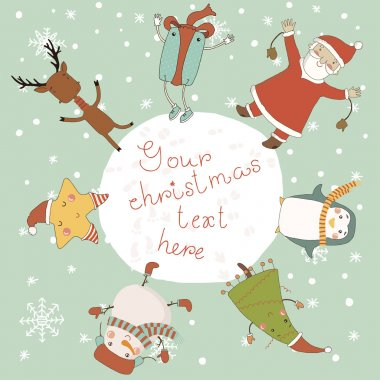 Christmas card with cartoon characters.