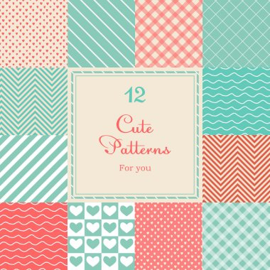 12 Cute different vector seamless patterns (tiling). Pink, red and blue color. Endless texture can be used for printing onto fabric and paper or scrap booking. Heart, stripes, rhombus, chevron. clip art vector