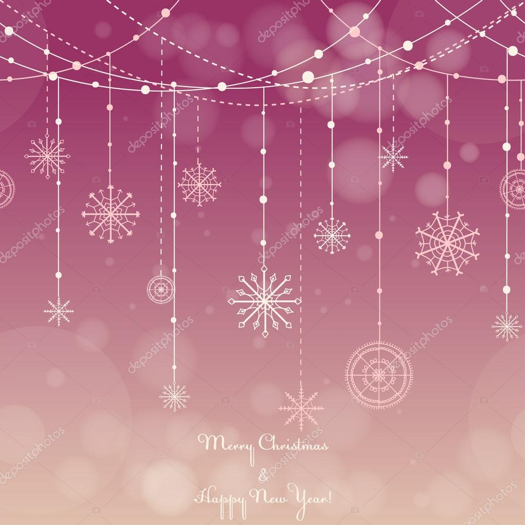 Christmas background with snowflakes on a string.