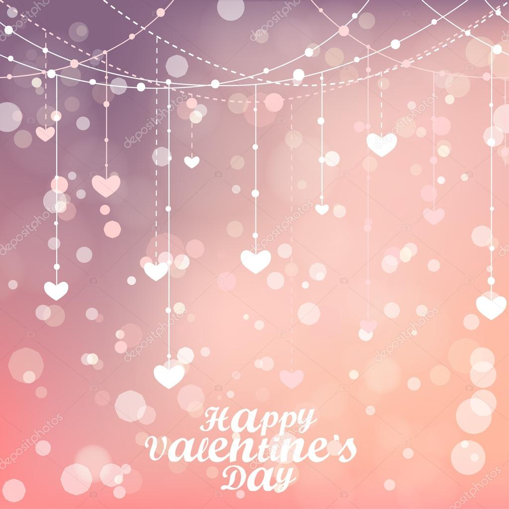 Happy Valentines day lettering Greeting Card. Vector illustration. Magical background with colorful bokeh. Blurred background with lights. Stylish backdrop for you text clipart vector