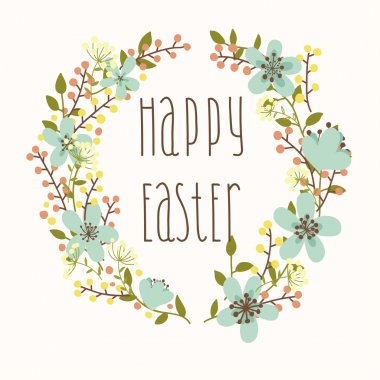 Happy Easter card with floral wreath.