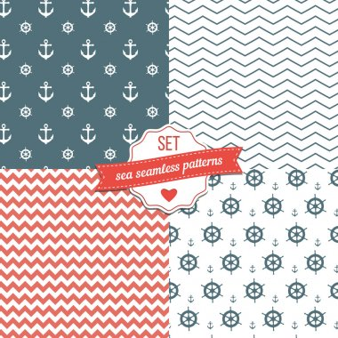 Nautical Navy Blue, Red and White Chevron