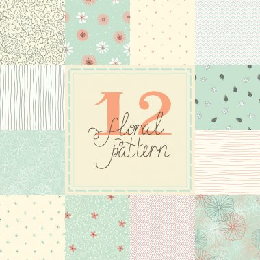 12 Elegant romantic vector seamless patterns (tiling)