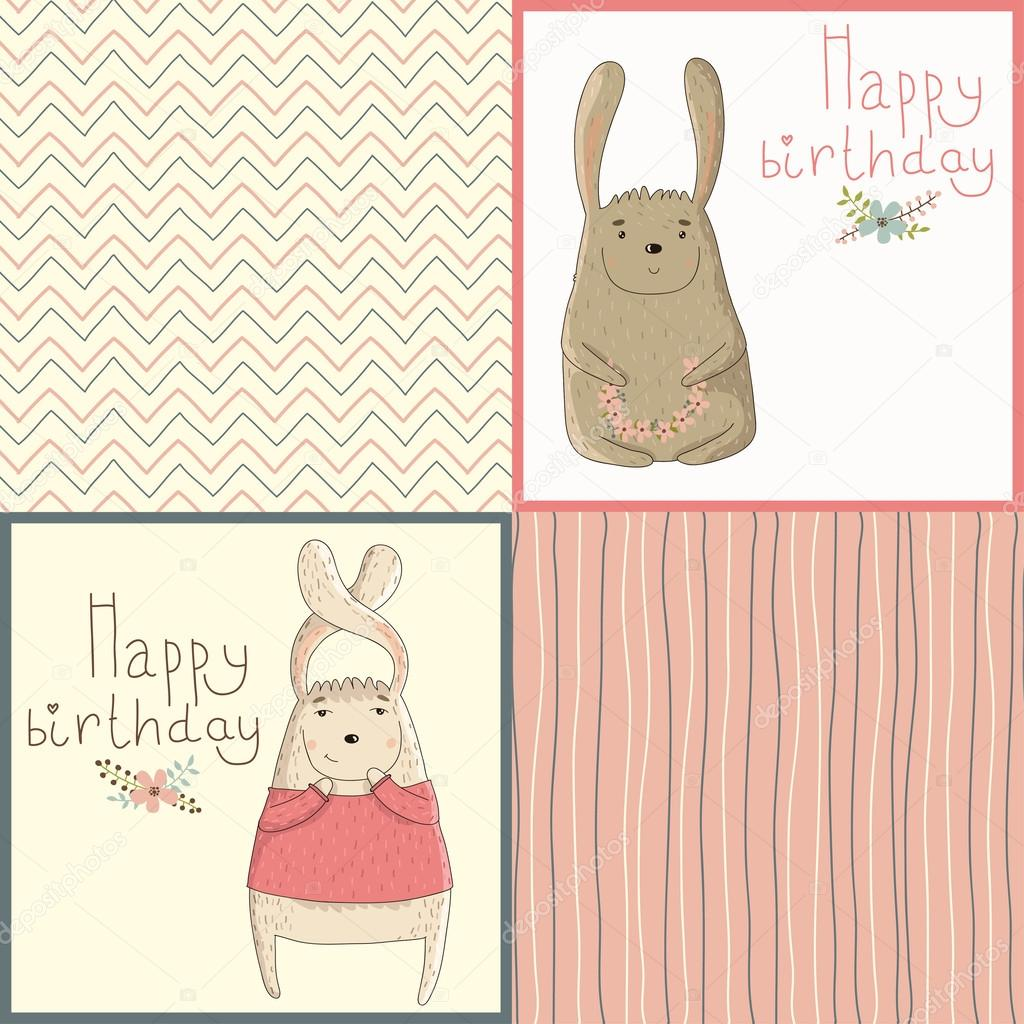 Set Of Happy Birthday Card With Cute Bunny Stock Vector