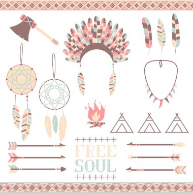 Arrows, Indian elements, Aztec borders