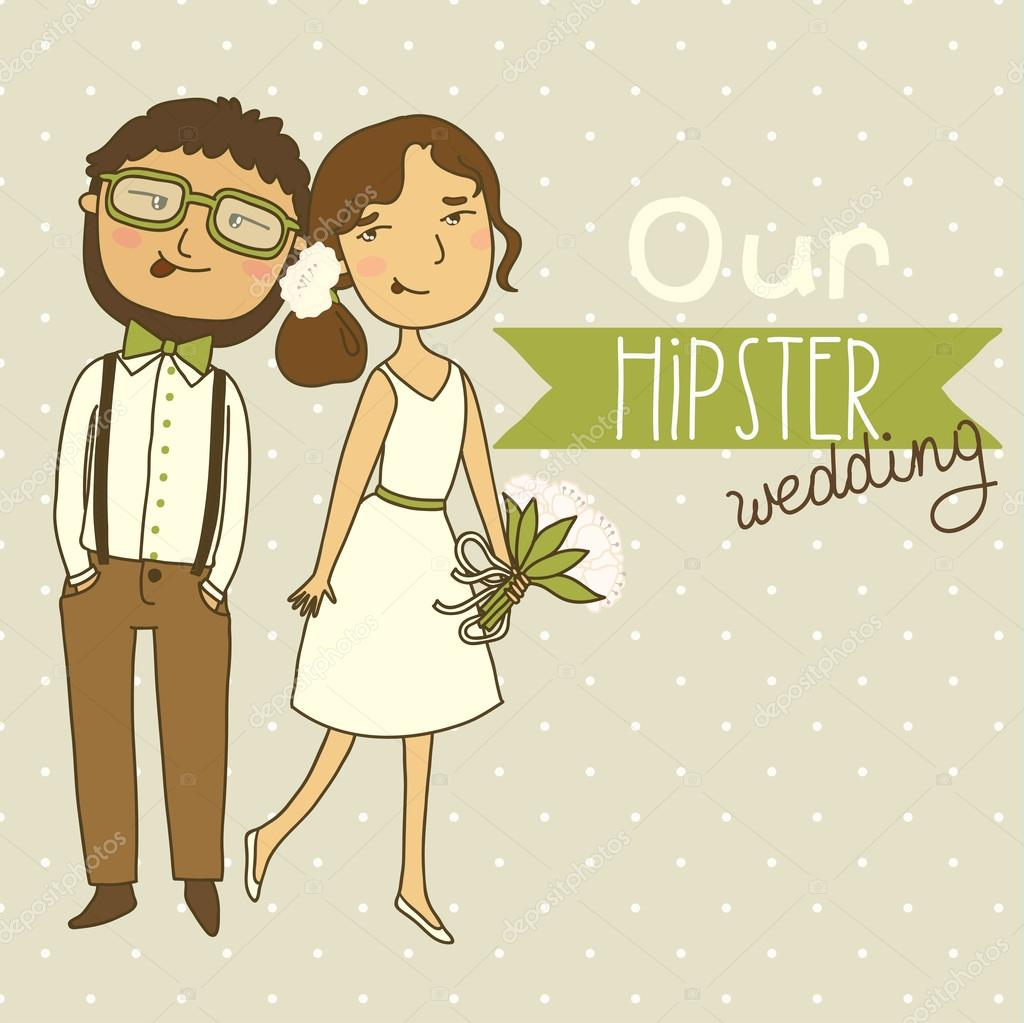 Wedding invitation with a couple of hipsters. — Stock Vector ...