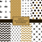 Photo Seamless black and gold patterns