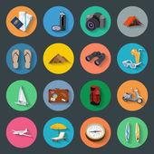 Fotografie Tourismus flache Icons set