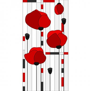 Stained glass window with red poppies