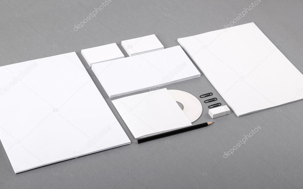 Blank visual identity. Letterhead, business cards, envelopes, CD ...