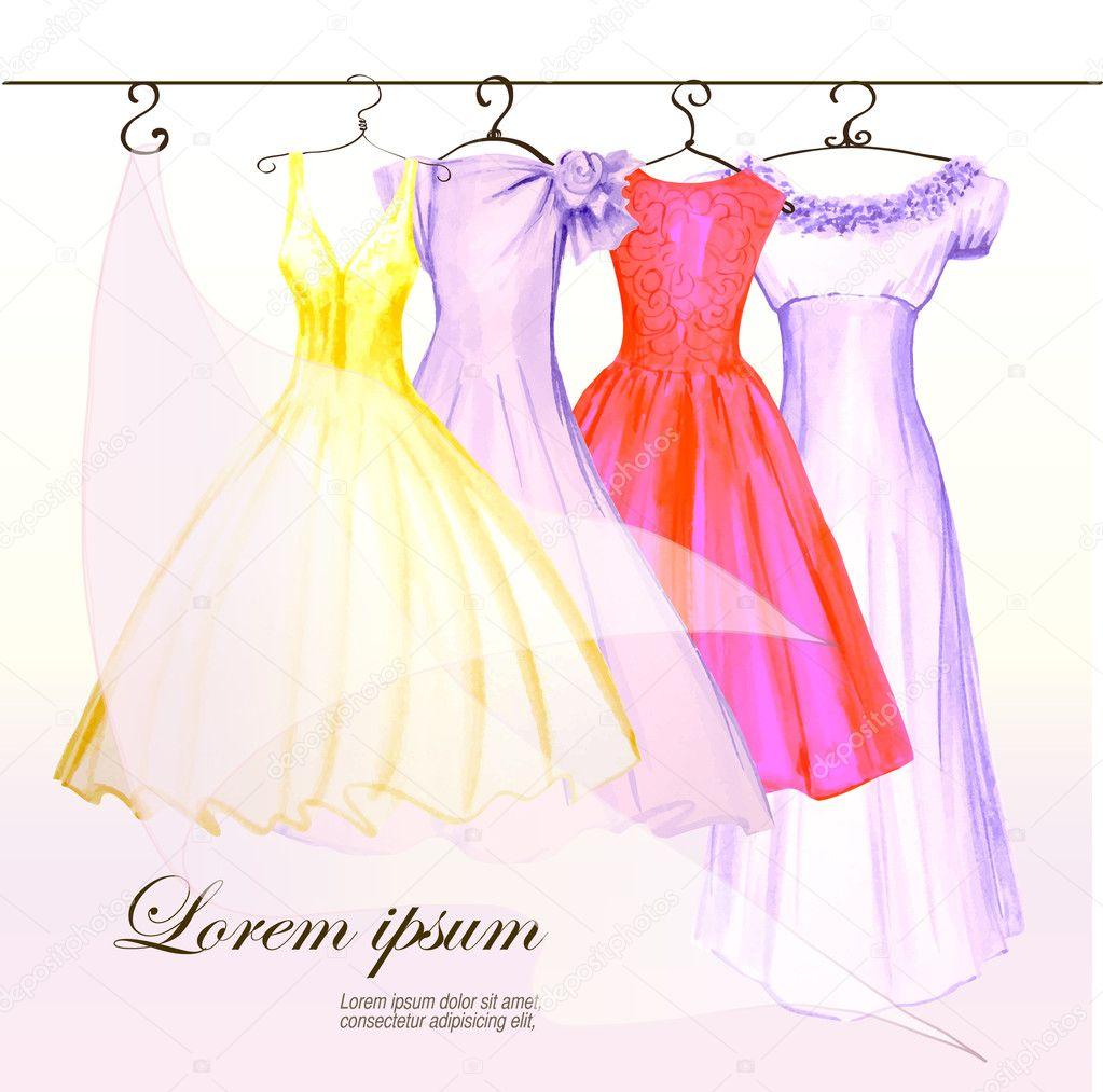 4 vestidos en la percha en colores pastel pintaron a la acuarela ...