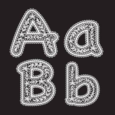 Big and lowercase letters A and B are written in white lace. Lace font for the inscriptions.