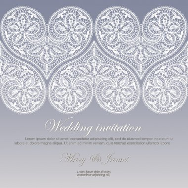 Wedding invitation decorated with white lace hearts