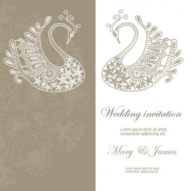 Wedding invitation decorated with lace swans