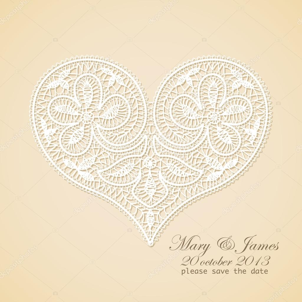 Wedding invitation. Lacy white heart on a gold background. — Stock ...