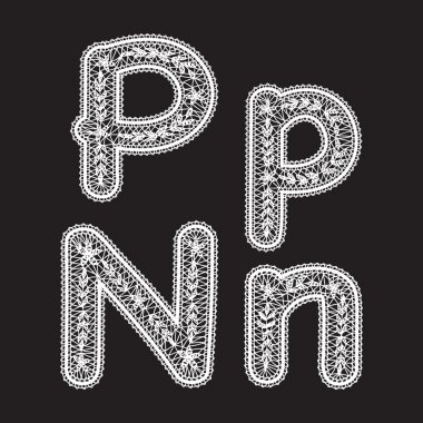 Uppercase and lowercase letters P and N are written by white lace. Lace type font for the inscriptions.