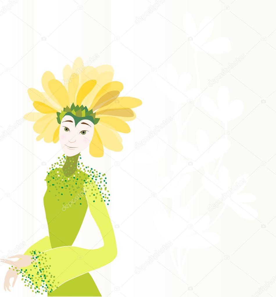 7b58a326e8c Fille dans un chapeau de fleurs sur fond avec motif floral dans les tons  pastel– illustration de stock