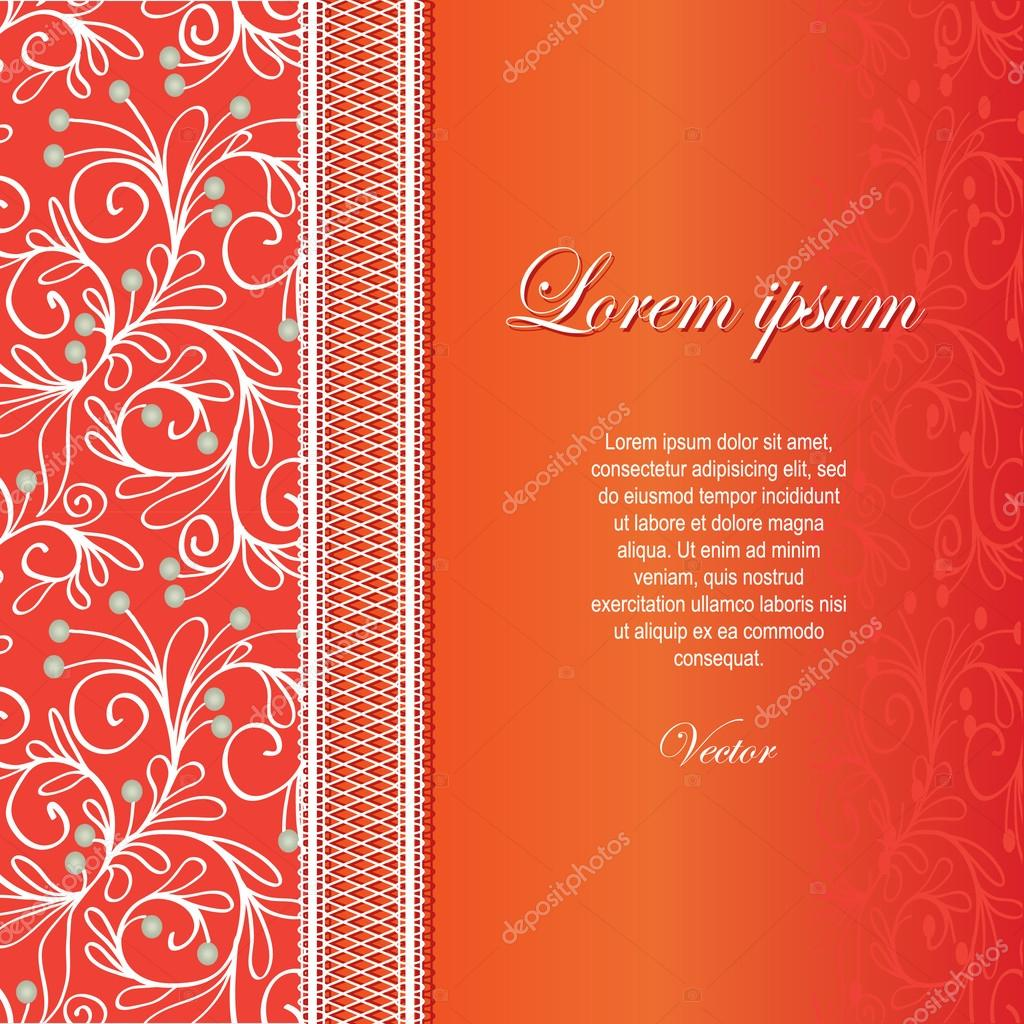 Wedding invitation decorated with white lace and floral pattern ...