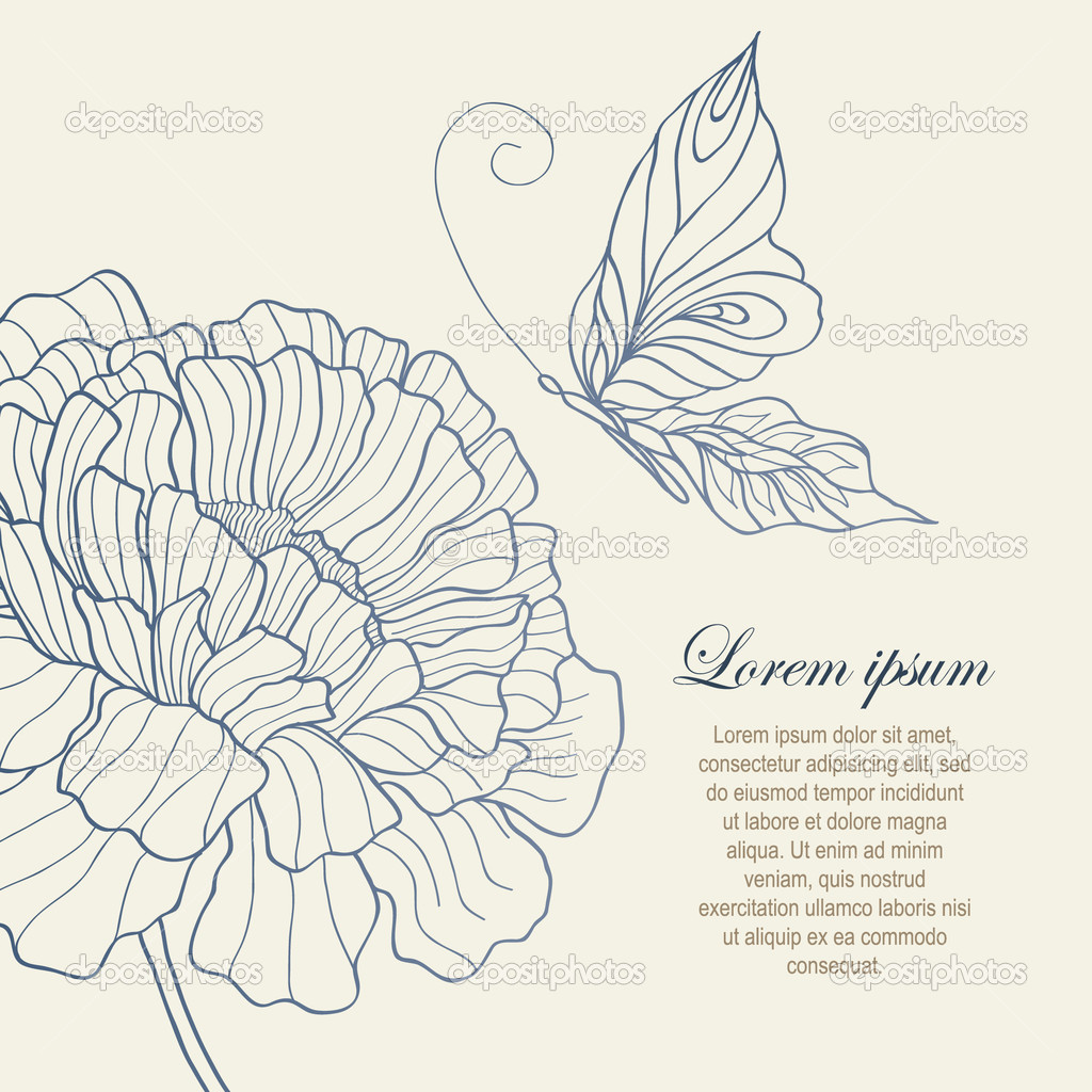 flower and butterfly from vintage style botanical drawing u2014 stock