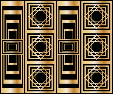 Seamless pattern with abstract geometric pattern in art deco stile