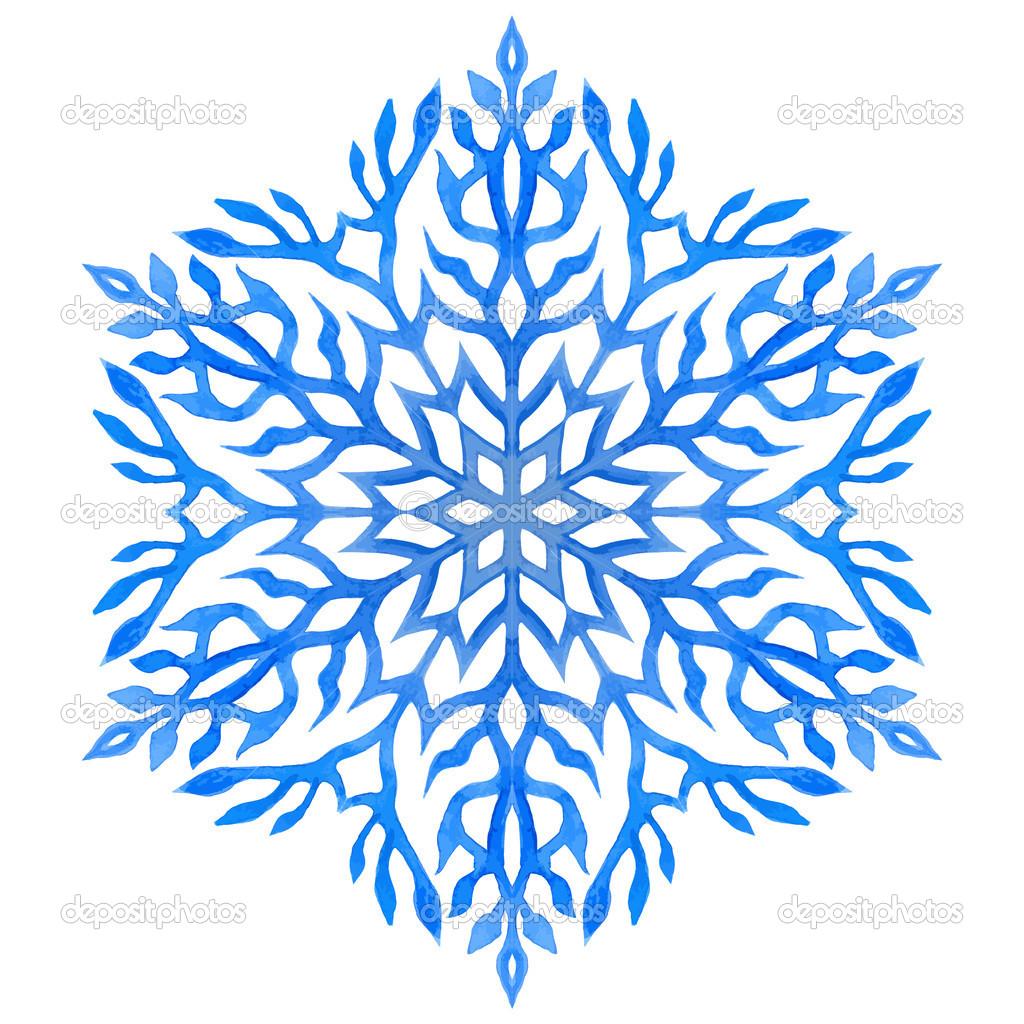 Excellent flocon de neige bleu aquarelle — Image vectorielle ElenaBesedina  QX56