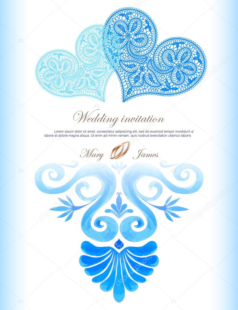 Wedding invitation decorated with lace heart and watercolor ancient ...
