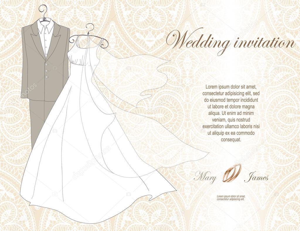 Wedding invitation decorated with wedding dress and suit stock wedding invitation decorated with wedding dress and suit stock vector stopboris Gallery
