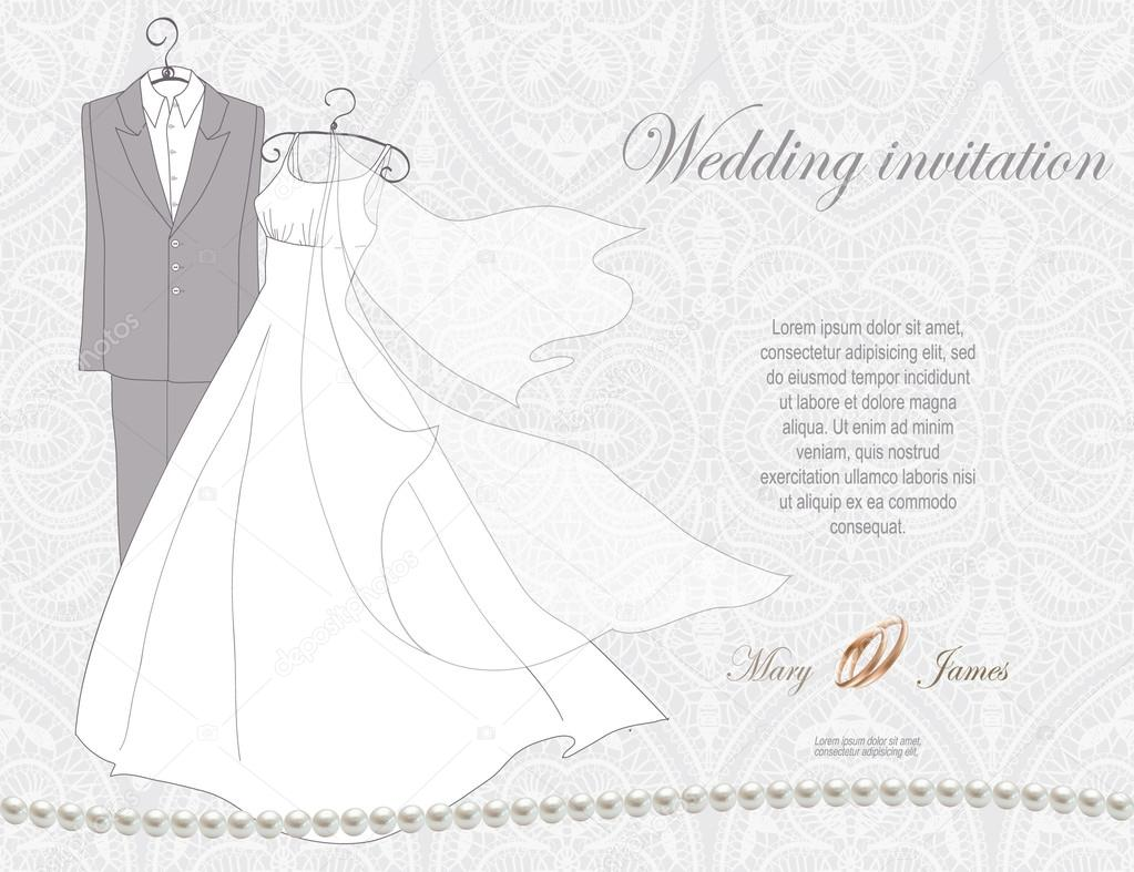 Wedding Invitation decorated with wedding dress and suit — Stock ...