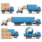 vektorové dodávky nákladních automobilů ikony set 2