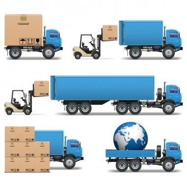 Vector Shipment Trucks Icons Set 2