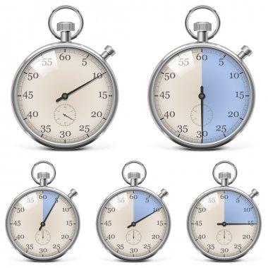 Vector Retro Stopwatch Set