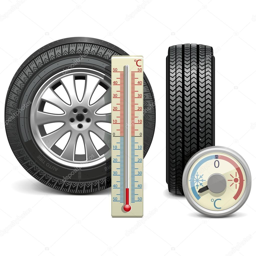 Vector Winter Tire and Thermometer