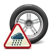 Vektor-Regen-Reifen mit Schild