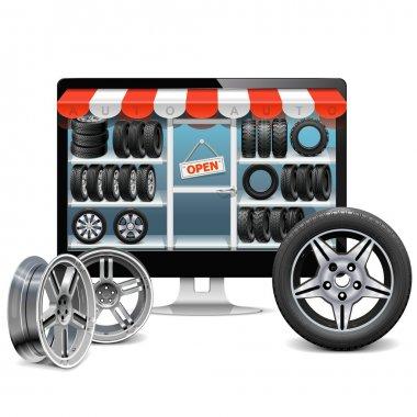 Vector Tire Shop Concept