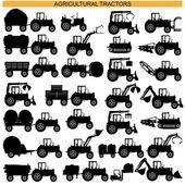 vektorové zemědělský traktor piktogramy
