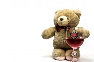 Bear and a glass of wine with heart